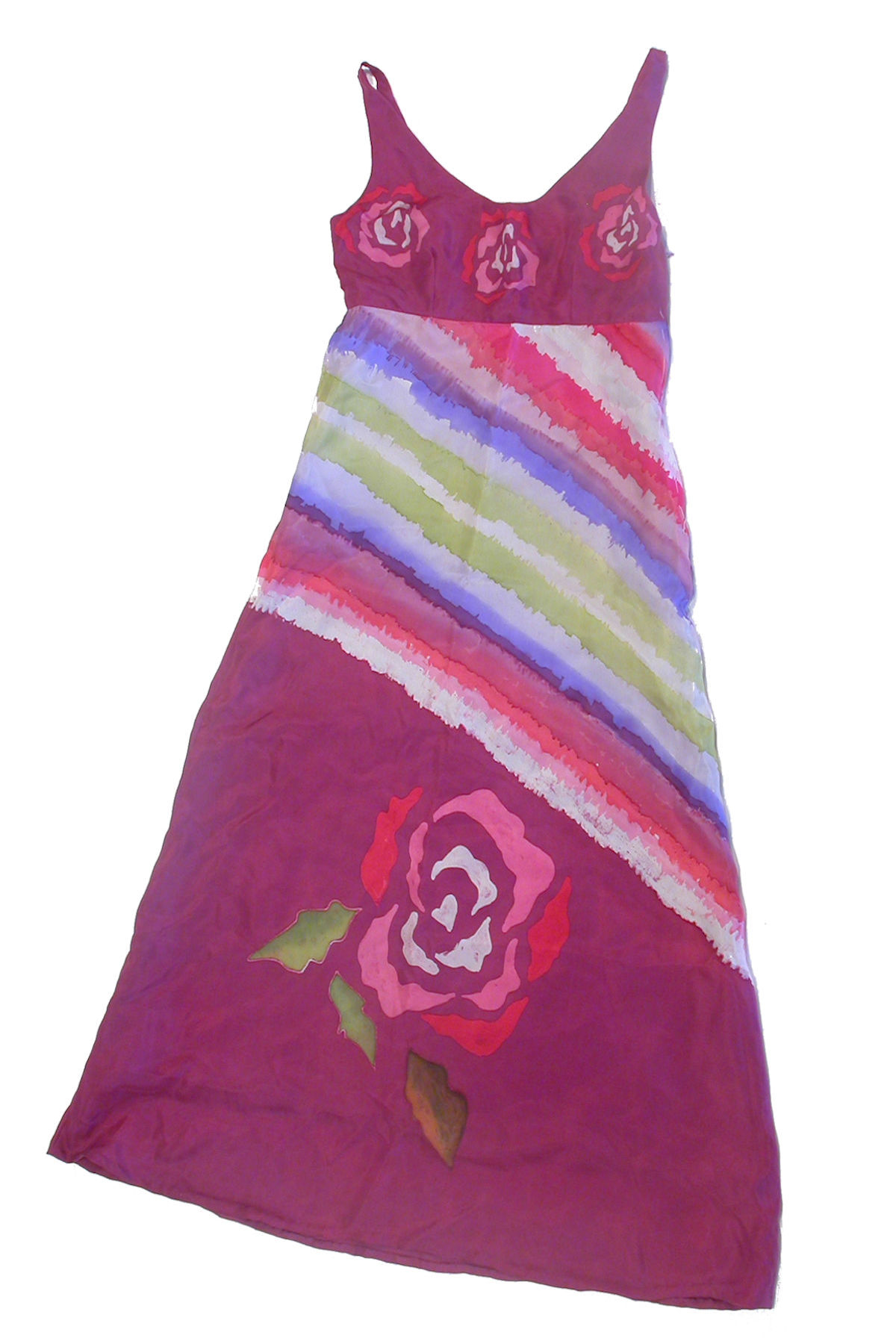 'Roses' – Hand-Painted Silk Dress
