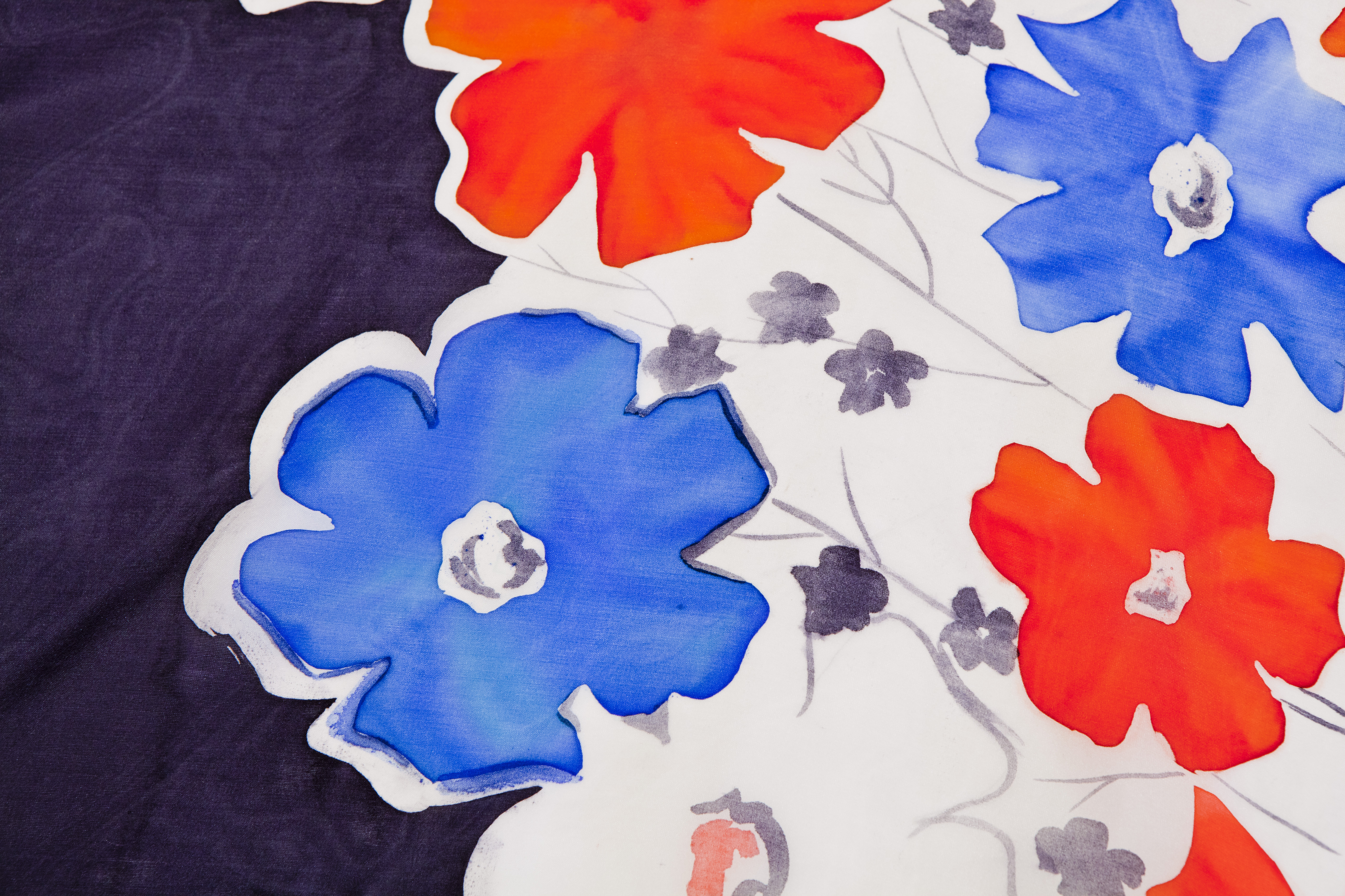 'Flowers at Night' – Hand-Painted-Silk Scarf