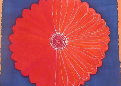'Red Flower' – Hand-Painted Silk Scarf