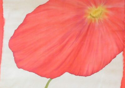 'Poppy' – Hand-Painted Silk Scarf