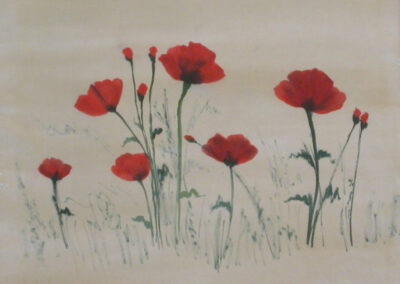 'Poppies' – Hand-Painted Silk Scarf