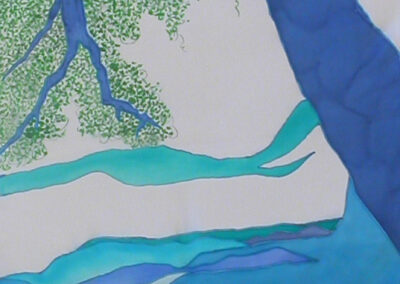 'Blue Tree' – Hand-Painted Silk Scarf