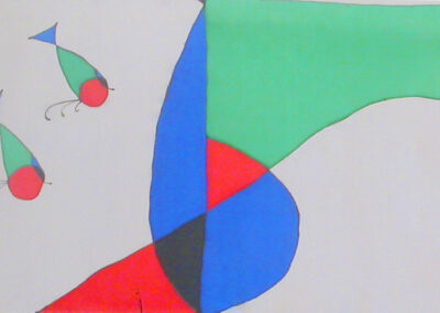'Homage to Miró' – Hand-Painted Silk Scarf
